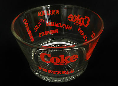 COCA COLA COKE Collectible GLASS BOWL Munchies Snack Nibbles Pretzels Popcorn