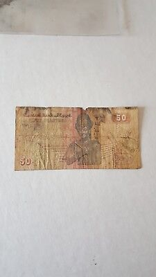 Rare old paper money Central Bank of Egypt Fifty Piastres 50