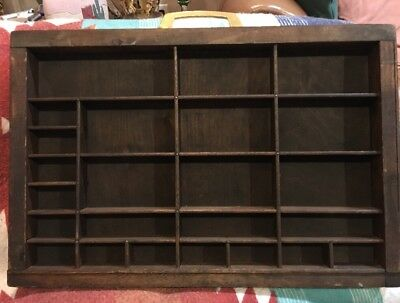 PRINTERS TYPE CASE Or DRAWER Antique End Section, Handle, Stained Large Openings