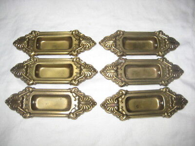 Set of Six Matching Brass Vintage Sliding Door/Pocket Door Pulls
