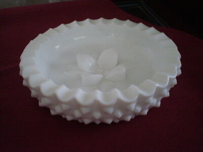 Rare Fenton Hobnail Milk Glass Ashtray With 3-D Dogwood Flower