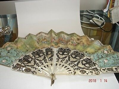 Antique Victorian Mother Of Pearl Fan Sterling Silver  Inlay  For Restoration