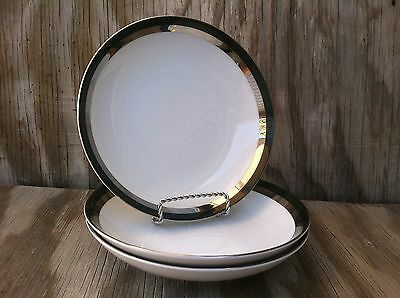 Meito Fine China Made In Japan Platinum Duchess Soup Or Salad Bowls Set Of 3