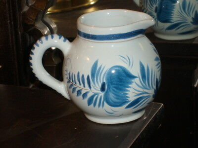 HB Quimper France Faience Pottery Small Creamer Pitcher - Blue & White