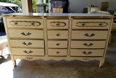 Vintage French Provincial Long Dresser/Vanity With Mirror ~ 16 Drawers