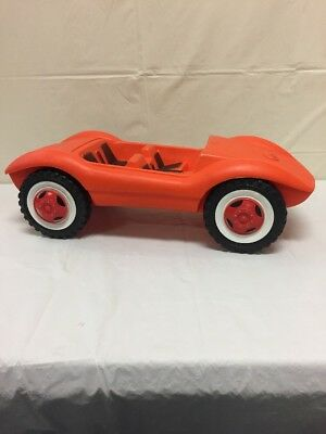 "Vintage Antique Orange Plastic Car Toy Made In West Germany 6 1/4""Hx20""L"