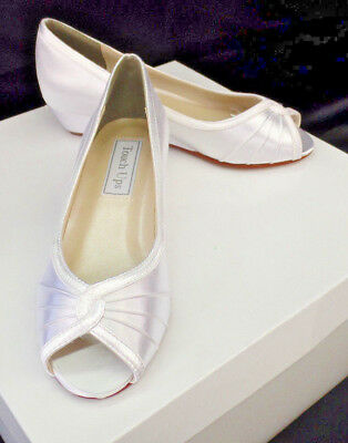 Low Wedge Peep Toe White Satin Bridal Shoes - Size 5 and 5.5