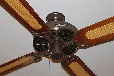 Vintage Hunter Original Antique Brass & Brown Cast Iron Ceiling Fan Made in USA!