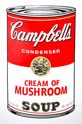ANDY WARHOL Pop Art - Sunday B Morning - Campbell's Soup Can Mushroom + COA