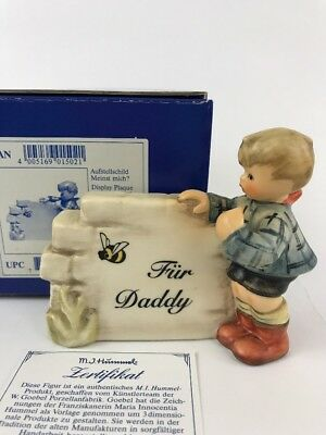 Hummel Figure Hum 828 Over The Horison Plaque # 1502 Box Certificate Fathers day