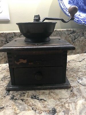 Antique Vintage Wood and Iron Hand Crank Coffee Grinder
