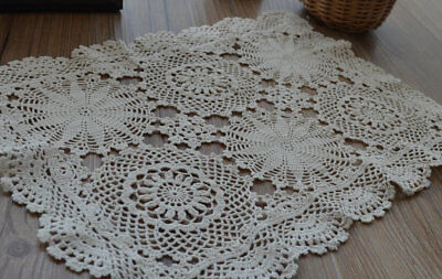 Vintage Hand Crochet Snowflake Lace Doily French Country Ecru Table Tray Cloth