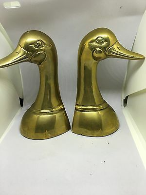 Pair of Vintage Brass Duck Heads Book Ends Home Decor