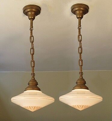 RESTORED! PAIR of Antique Light Fixtures from an Old YMCA Schoolhouse Industrial