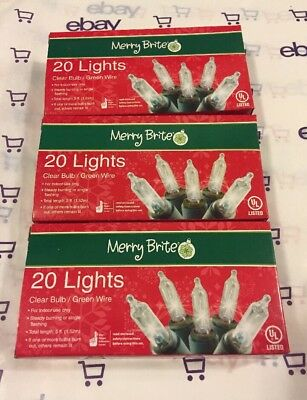 CHRISTMAS Merry Brite 20 count clear mini lights - 3 pack  NEW