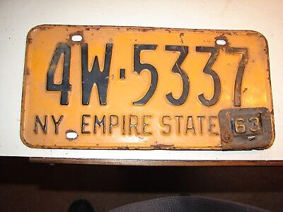 Pre-owned VINTAGE  1962 with 1963 tab NEW YORK   LICENSE Plate