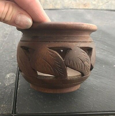 Unique Wooden Walnut Bowl with Hand Carved Patterns Antique