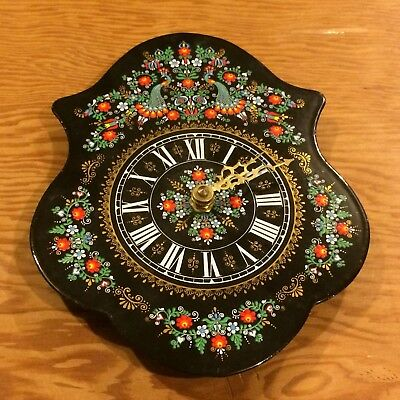 c1980 made in Austria metal wall clock, rosemaling or tole design