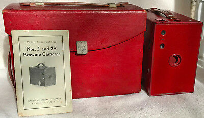 Red Kodak Brownie No.2A Model C Box Camera with Case & Instruction Book, c.1930