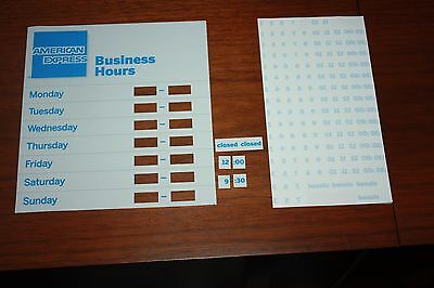 New American Express AMEX Hours of Operation Business Sticker Decal Door Window