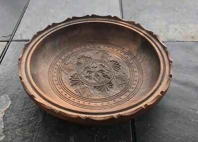 Antique Circa 1880's Hand Carved Wooden Bowl