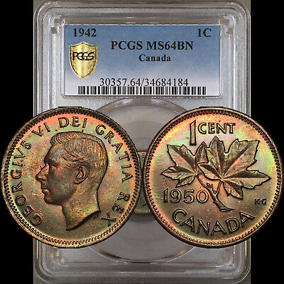 1950 1 Cent Canada PCGS MS64BN - Colorful Green Toning - Slab ERROR (says 1942)