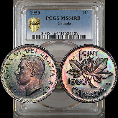 1950 1 Cent Canada PCGS MS64RB - Colorful Green Toning
