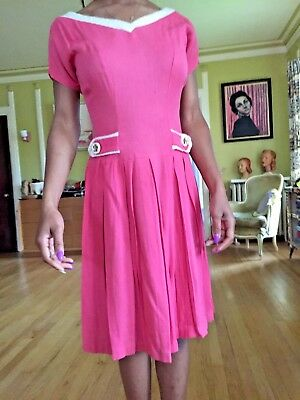VIntage 1950s Hot Pink Fuchsia Dress with Ivory Angora Trim