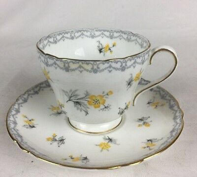 "Shelley England Fine Bone China Teacup & Saucer-""Charm"" Design Yellow Flowers"