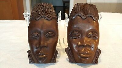 Wooden Ethnic Handcarved Face Figures Wall Hanging