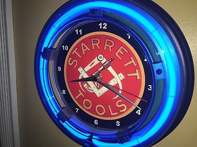 Starrett Precision Tools Machinist Caliper Advertising Blue Neon Wall Clock Sign