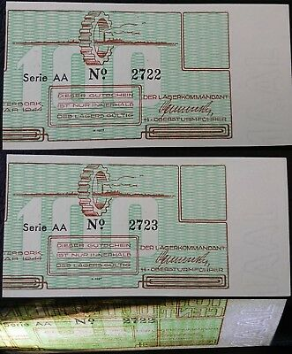 VERY RARE NETHERLANDS   2x  100 cent 1944    WESTERBORK lager camp     ERROR