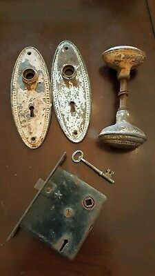 Antique lock with skeleton key door plates & RARE oval knobs