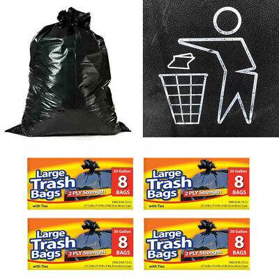 32Pc Heavy Duty 30 Gallon Large Commercial Trash Bag Garbage Yard Kitchen Strong