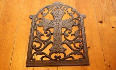 "Cast Iron Cross Crucifix  In Ornate Arch 15 1/2"" X 12"" Weighs 6 Lbs. Plaque"