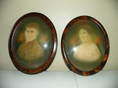 """Pair of Antique Photos, Tiger Wood Oval Frames 16"""" x 13"""", Convex Glass"""