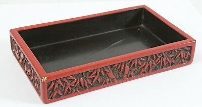 "Vintage Chinese Cinnabar 6"" Box Red Lacquer Bamboo BASE ONLY"