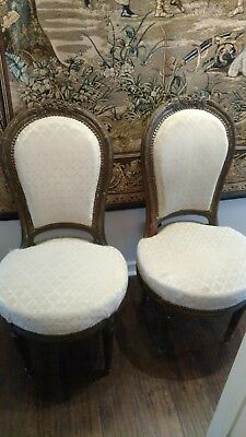 One Pair Lovely Old French Antique Louis XVI Balloon Back Side Chairs -WILL SHIP