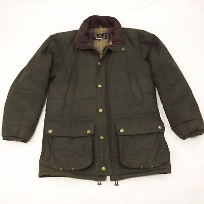 Mens Barbour Hemmingford Quilted Jacket Olive Waxed Cotton sz Medium No Hood