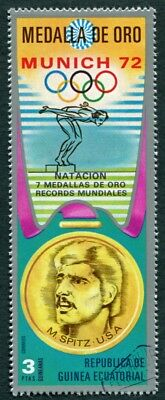 EQUATORIAL GUINEA 1972 3p used NG Olympic Medalists Munich M. Spitz b a2
