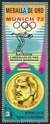 EQUATORIAL GUINEA 1972 3p used NG Olympic Medalists Munich M. Spitz d a2
