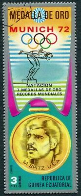 EQUATORIAL GUINEA 1972 3p used NG Olympic Medalists Munich M. Spitz e a2