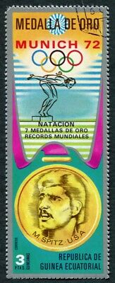 EQUATORIAL GUINEA 1972 3p used NG Olympic Medalists Munich M. Spitz f a2