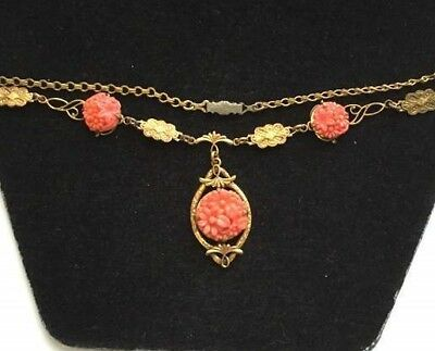 Vtg ANTIQUE Necklace Art Deco or Victorian Glass Faux Coral Flower Gold Chain
