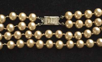 Vtg ANTIQUE Necklace Art Deco STERLING SILVER Clasp Rhinestone Faux Pearl Bead