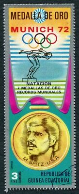 EQUATORIAL GUINEA 1972 3p used NG Olympic Medalists Munich M. Spitz h a2