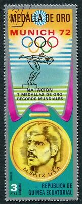 EQUATORIAL GUINEA 1972 3p used NG Olympic Medalists Munich M. Spitz j a2