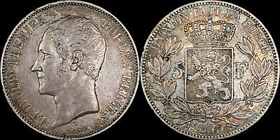 1865 Belgium 5 Francs - XF Condition - Colorful Toning - PG in XF: $175