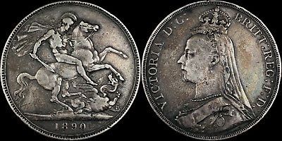 1890 Great Britain Silver Crown - VF/XF Condition - PG in XF: $210