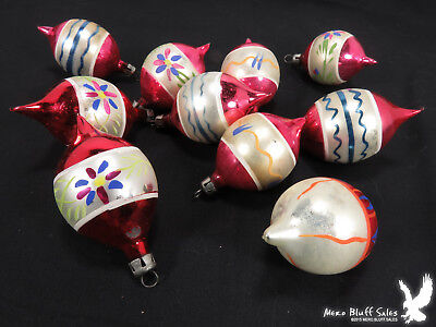 Lot of 12 Vintage Glass Christmas Ornaments Decorations 1940's? SWEET!